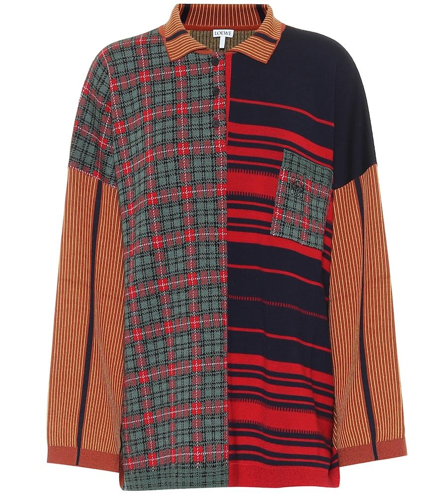 Polo en jacquard de laine mélangée à carreaux - Loewe - Modalova