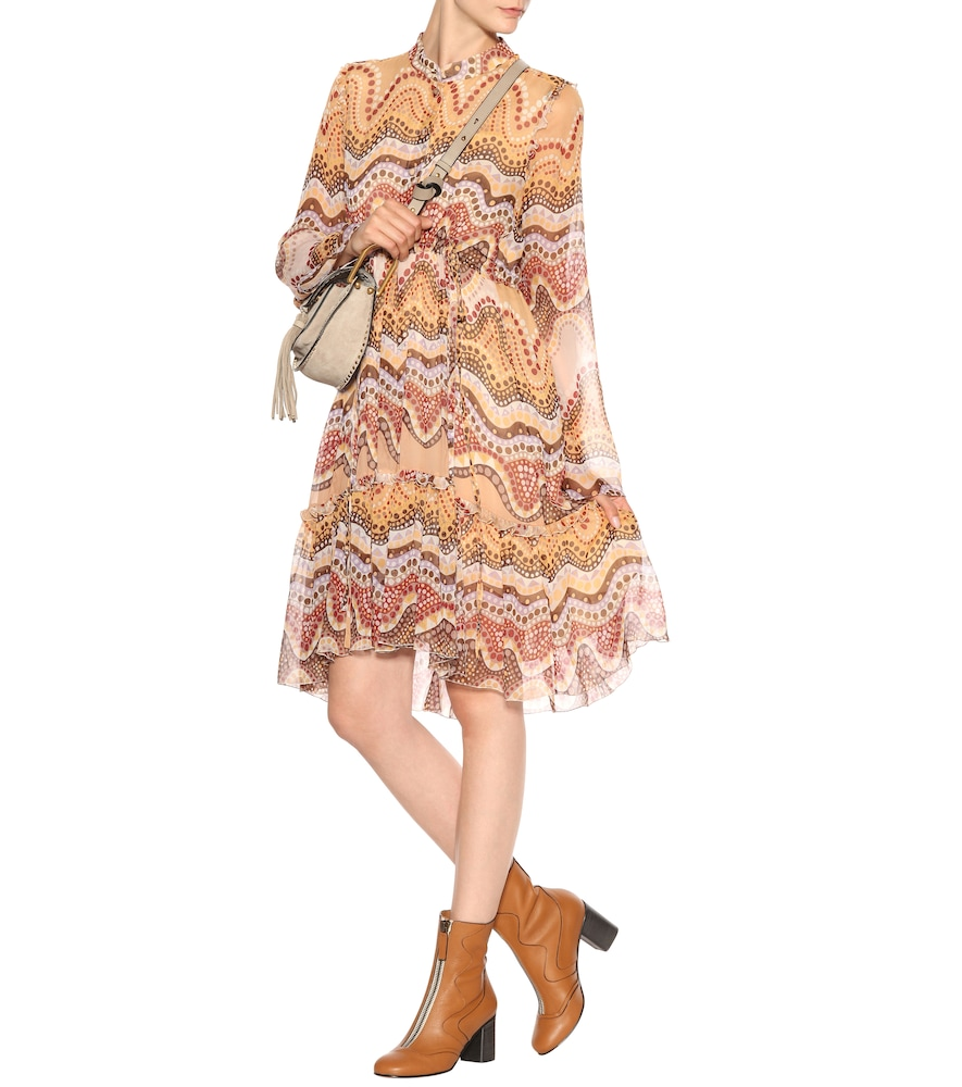 Exclusive to Mytheresa - Printed silk-crepon dress by Chloé