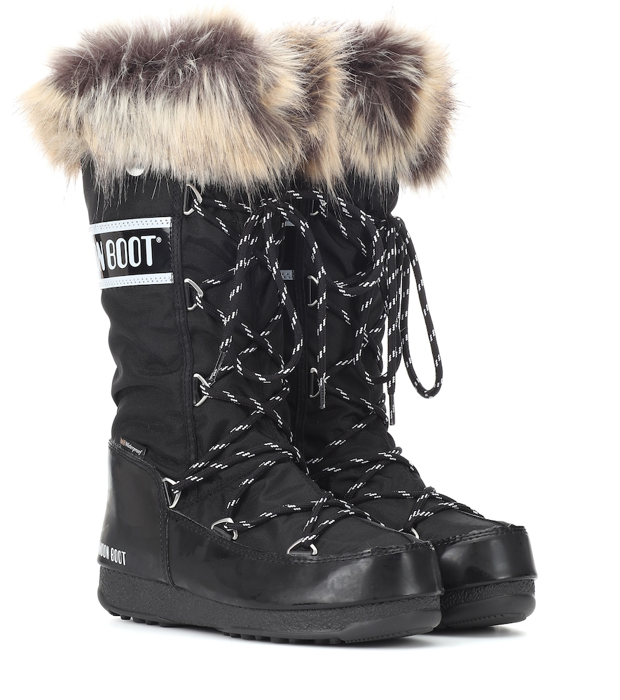 MOON BOOT Monaco Shell And Rubber Snow Boots in Black