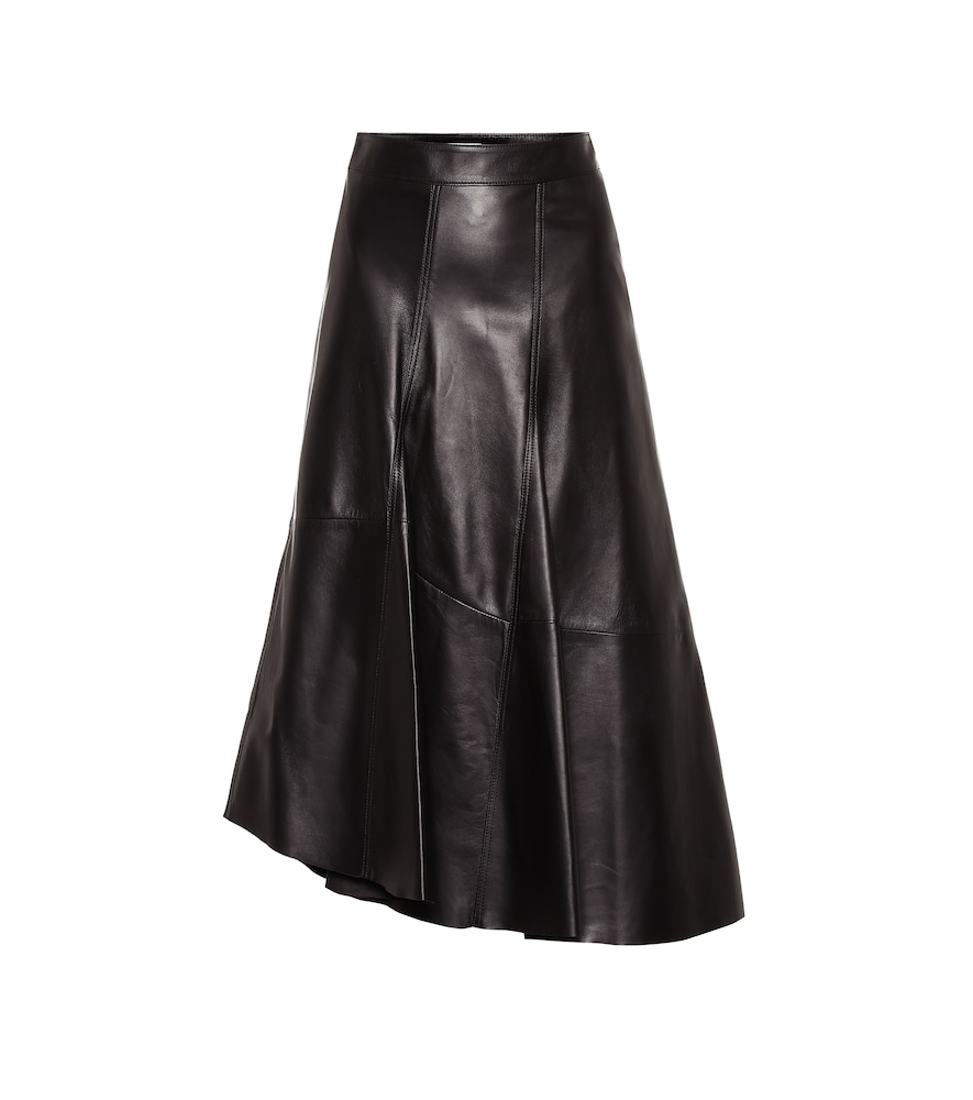 Asymmetrical leather midi skirt