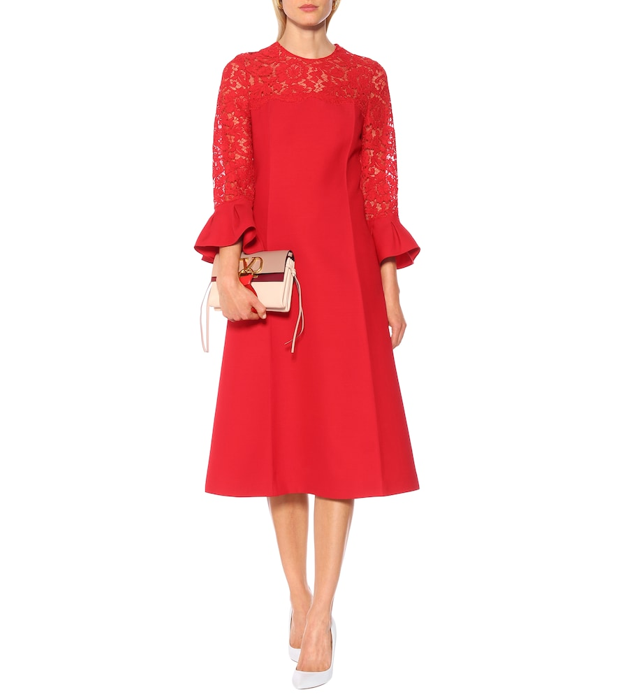 Photo of Lace-trimmed wool and silk dress by Valentino - shop Valentino Dresses, Knee-Length online