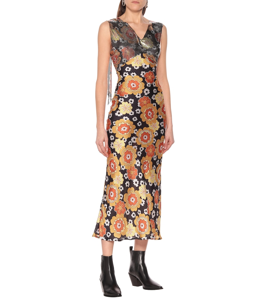 Exclusive to Mytheresa - Mesh-trimmed floral gown by Paco Rabanne