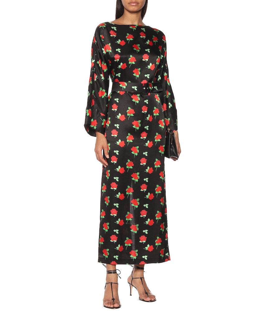 Jackie floral satin midi dress by Bernadette