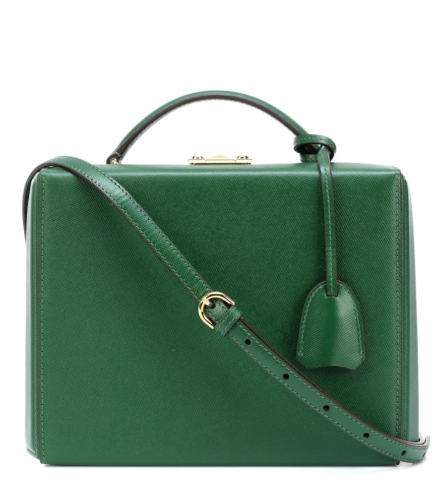 MARK CROSS Grace Large Box Leather Shoulder Bag in Green