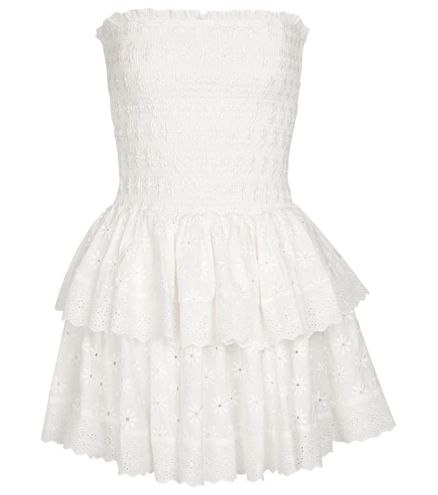Ensley smocked cotton poplin minidress