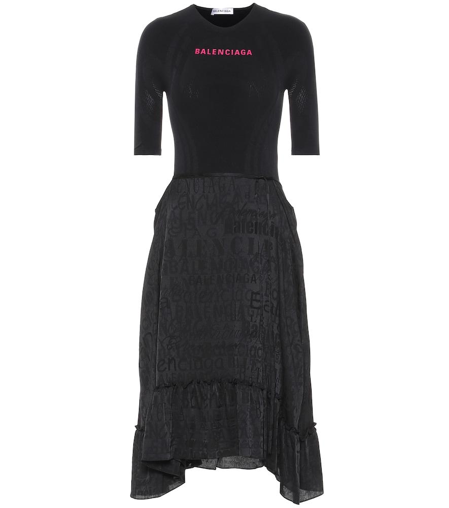 Asymmetric jersey midi dress by Balenciaga