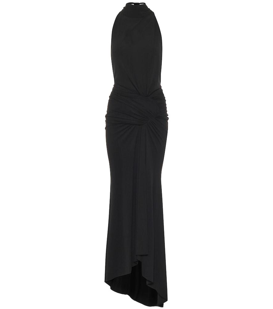 Halterneck stretch-jersey midi dress