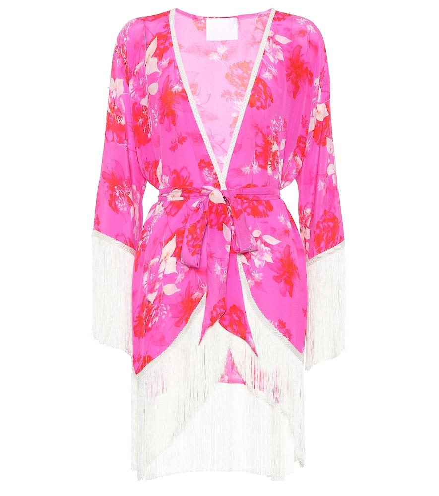 ATHENA PROCOPIOU Sundown Breeze Floral Silk Kimono in Pink