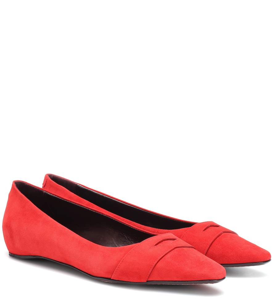 BOUGEOTTE Exclusive To Mytheresa - Suede Ballet Flats in Red