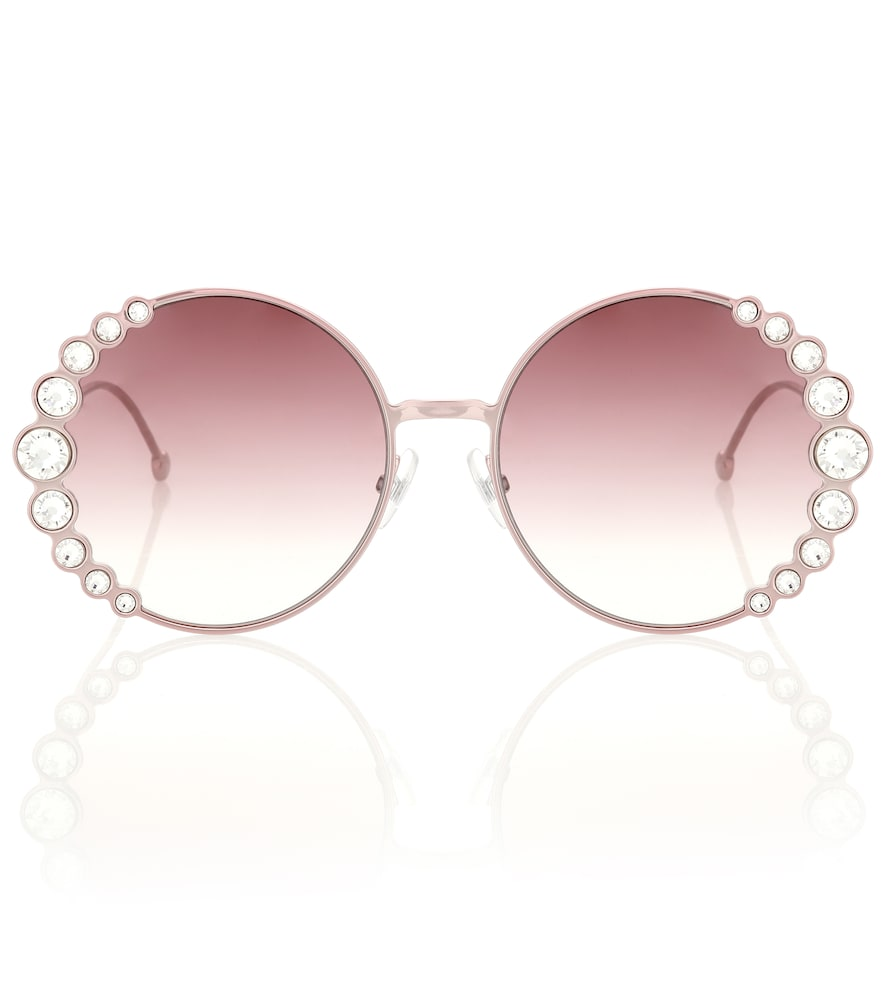 58Mm Oversized Round Swarovski Crystal Sunglasses in Pink