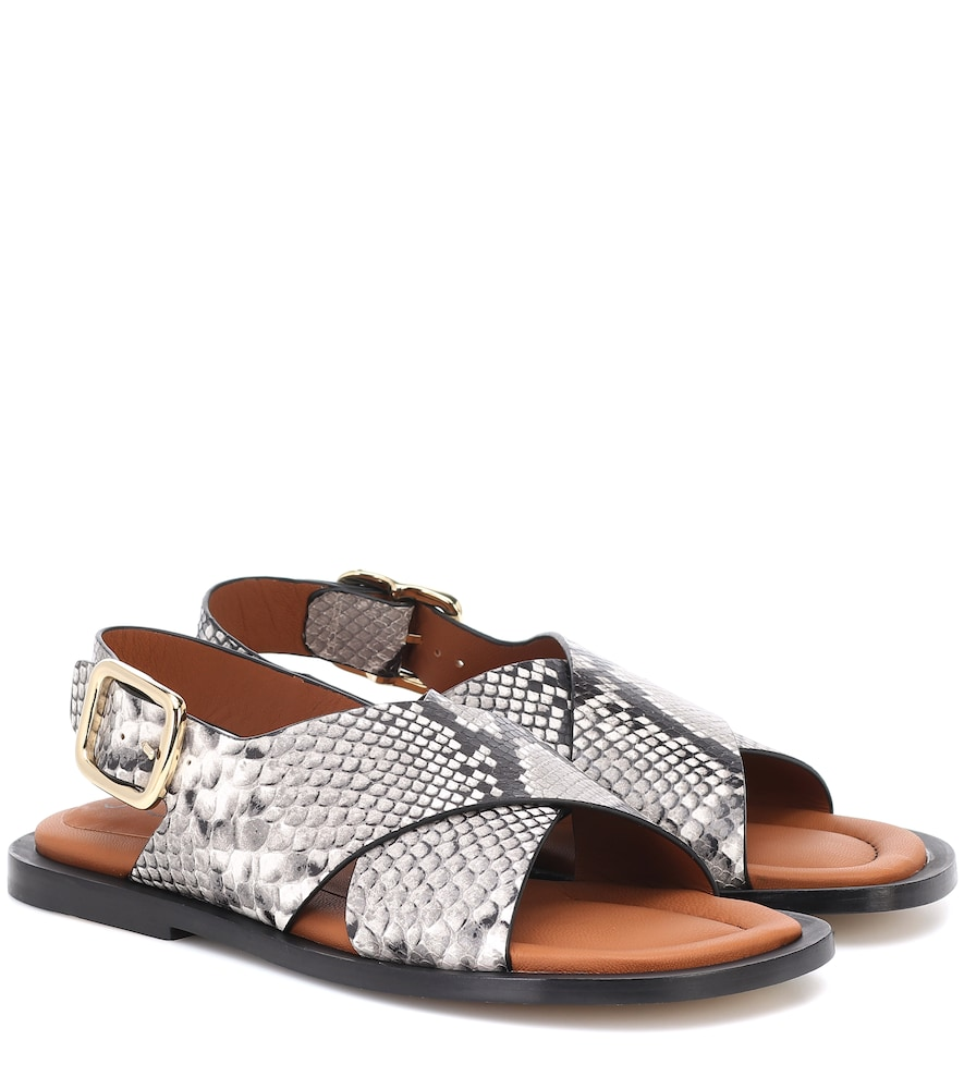 Joseph Snake-effect Leather Sandals In Grey