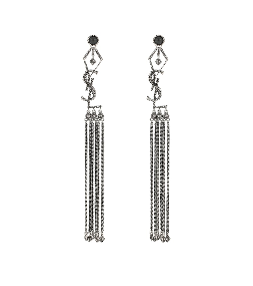 Monogram tassel earrings