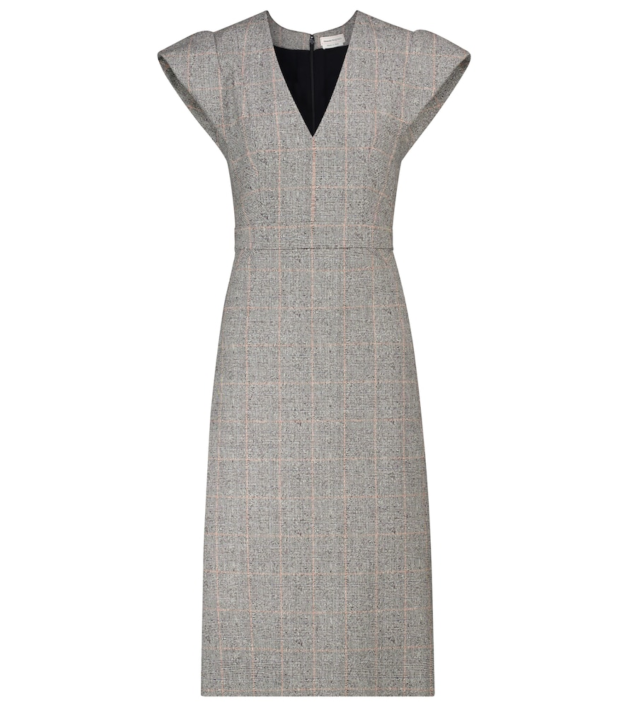 Checked stretch-wool midi dress by Alexander McQueen
