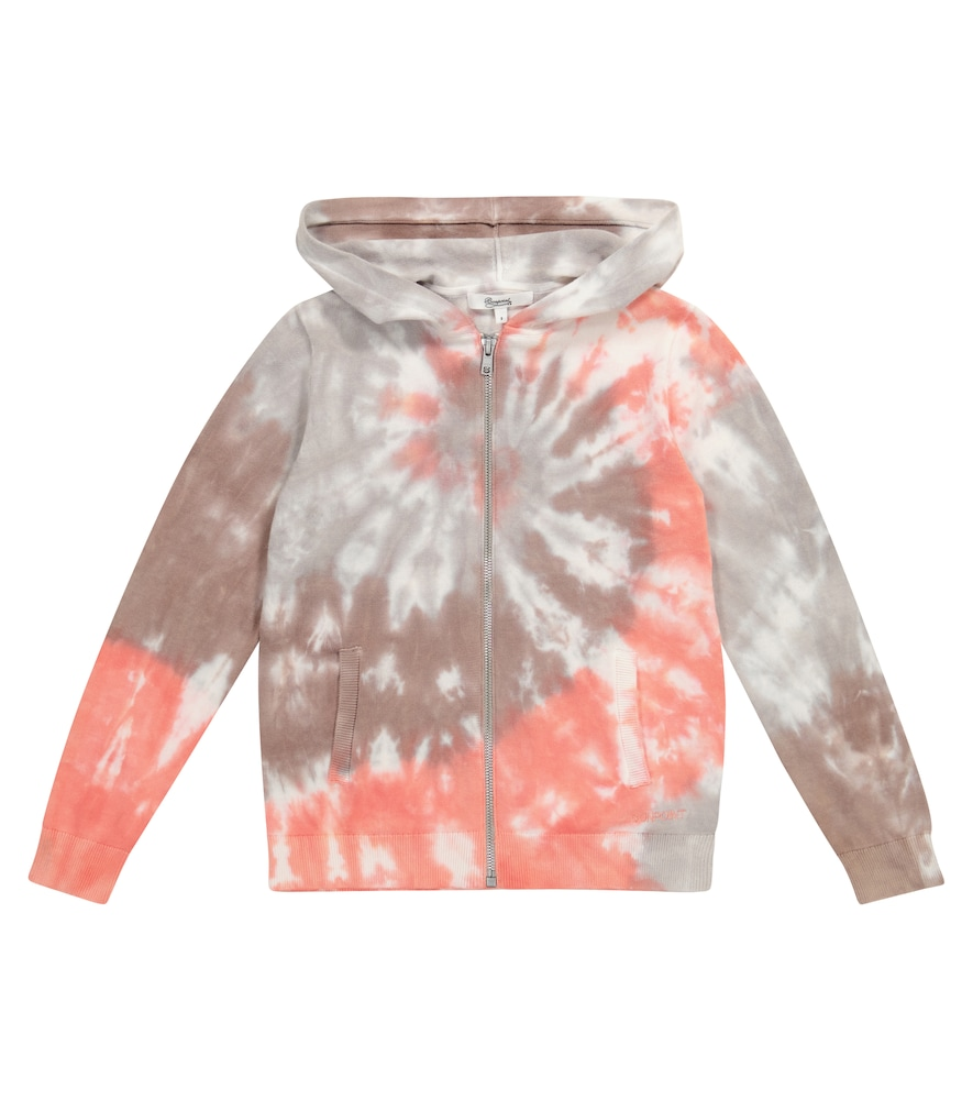 Bonpoint Cottons HOODED TIE-DYE COTTON CARDIGAN