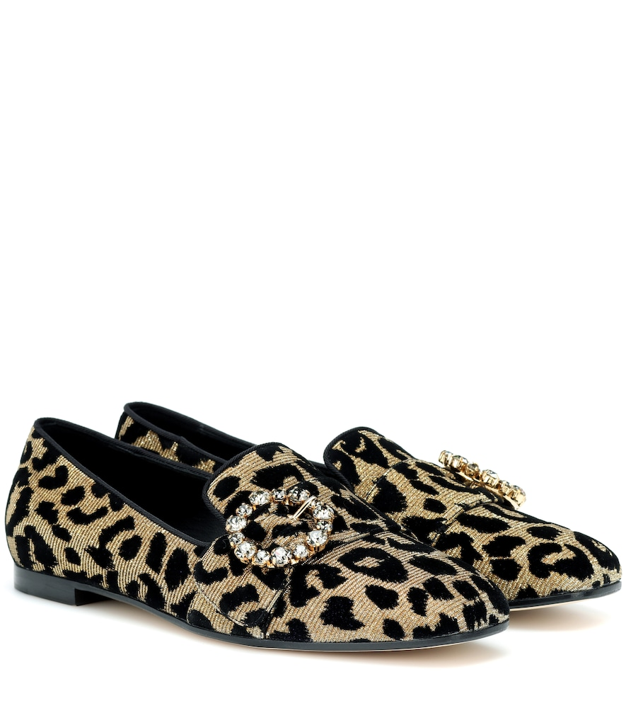Slippers In Color-Changing Leopard Fabric With Jewel Buckle in Yellow