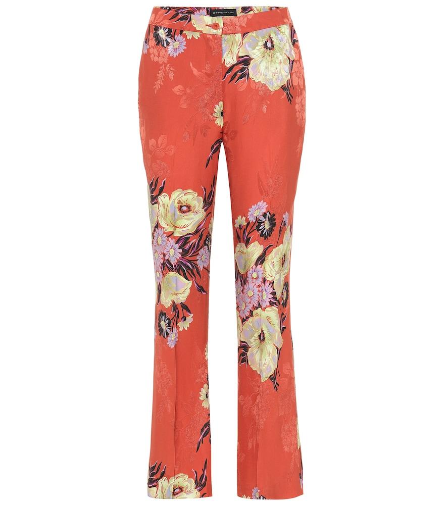 Etro Mid-Rise Silk-Blend Bootcut Pants In Orange