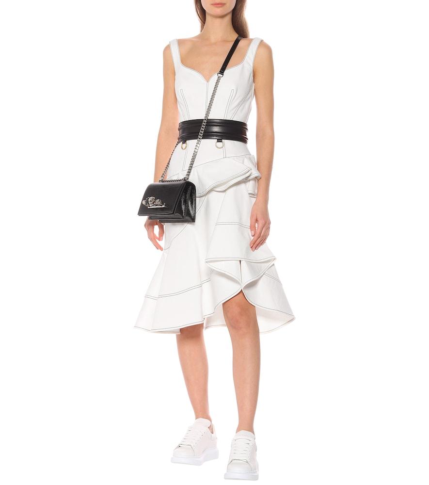 Asymmetric denim midi dress by Alexander McQueen