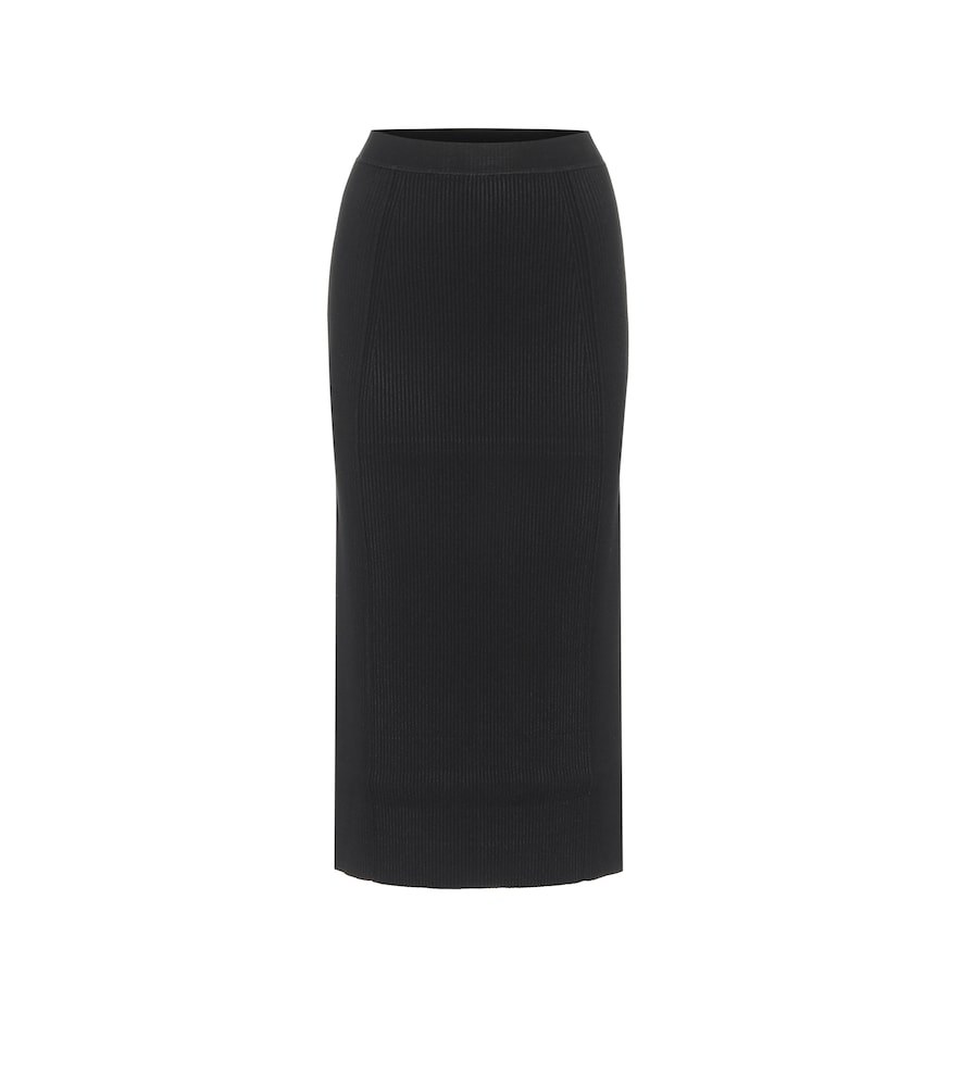 Sienna ribbed-knit midi skirt