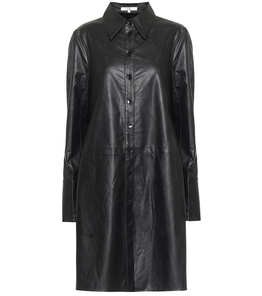 Tissue faux leather shirt dress by Tibi