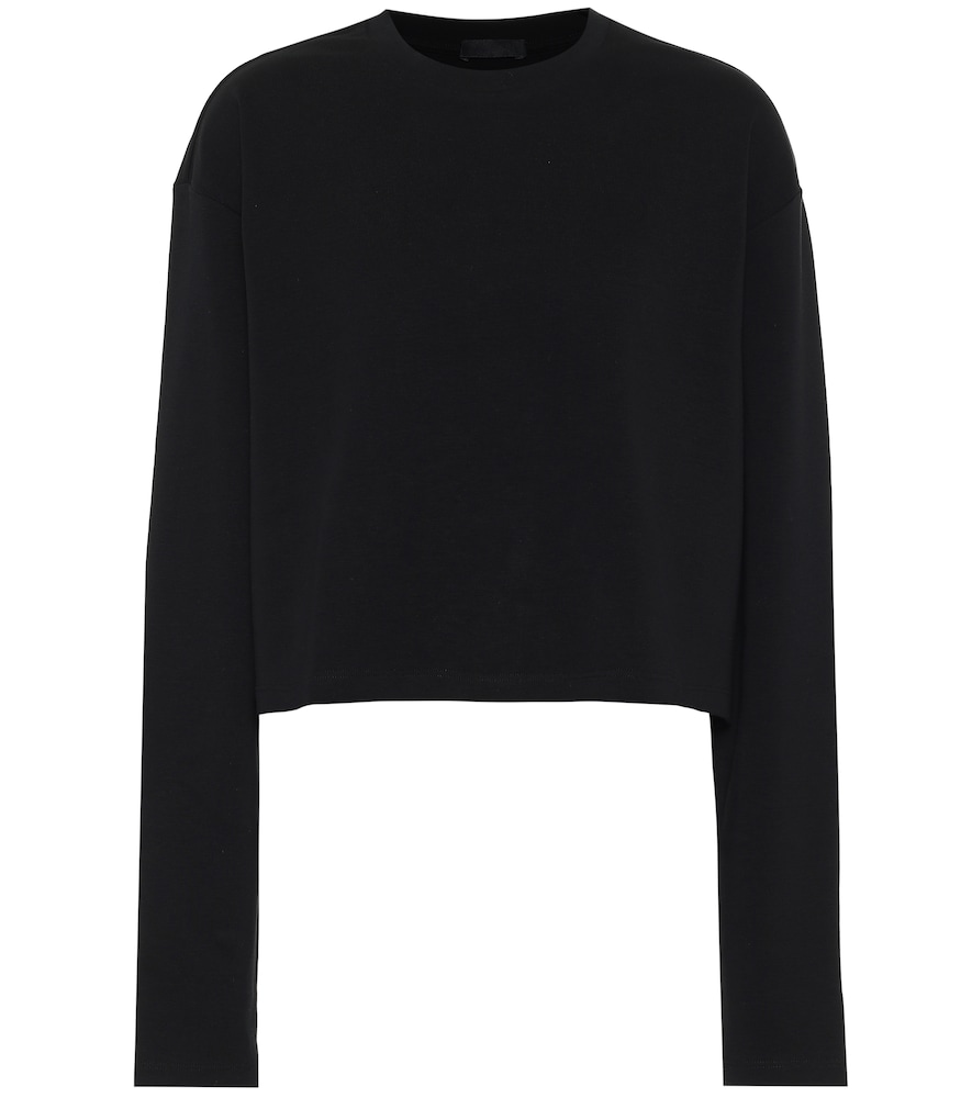 Wardrobe.nyc Release 06 Long-sleeved Cropped Cotton-jersey Top In Black