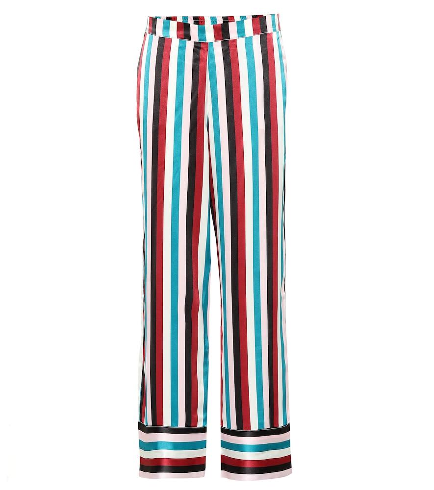 ASCENO Striped Silk-Satin Pajama Pants in Turquoise