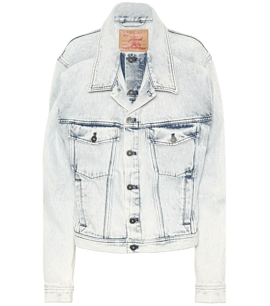 Y / Project Double Front Denim Jacket - Blue