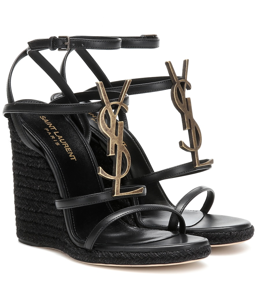 Saint Laurent Cassandra Leather Espadrille Wedges In Black