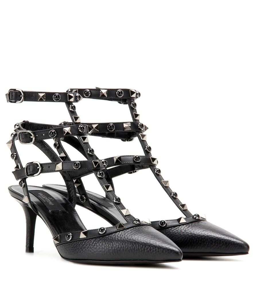 Valentino Garavani Rockstud Rolling Noir leather kitten-heel pumps