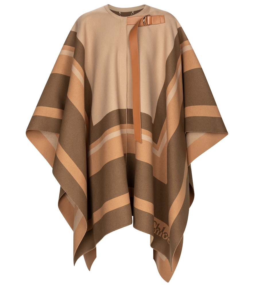 Chloé Leather-trimmed virgin wool cape