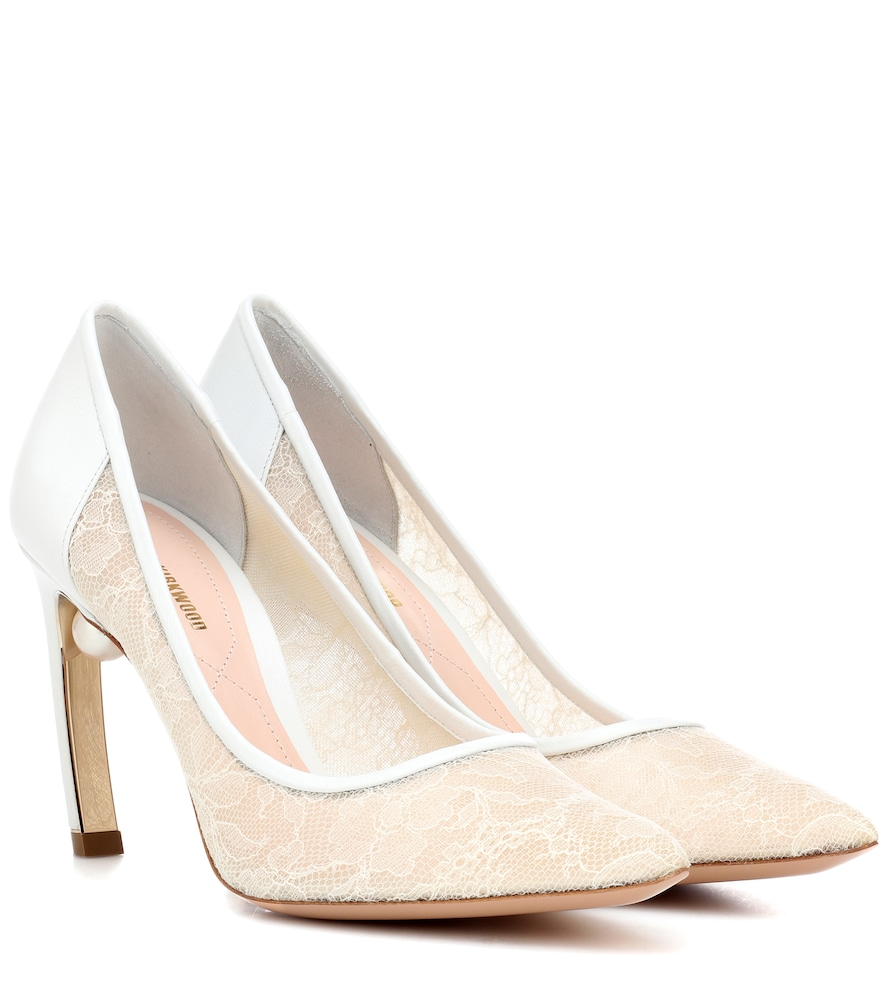 Mira Pearl Lace And Leather Pumps in White