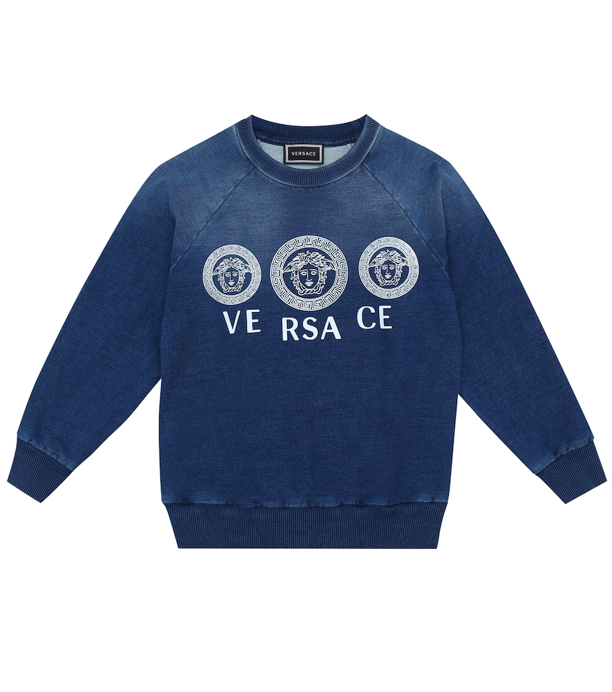 Versace Kids' Logo Stretch-cotton Sweater In Blue