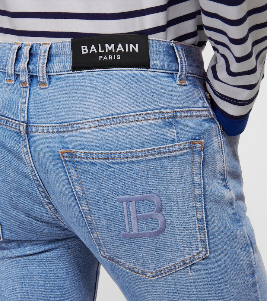 BALMAIN Cottons EMBROIDERED SLIM-FIT JEANS