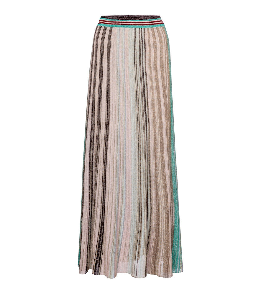 Missoni METALLIC STRIPED KNIT MAXI SKIRT