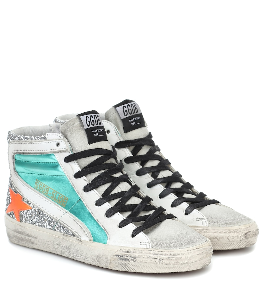 Slide metallic leather sneakers