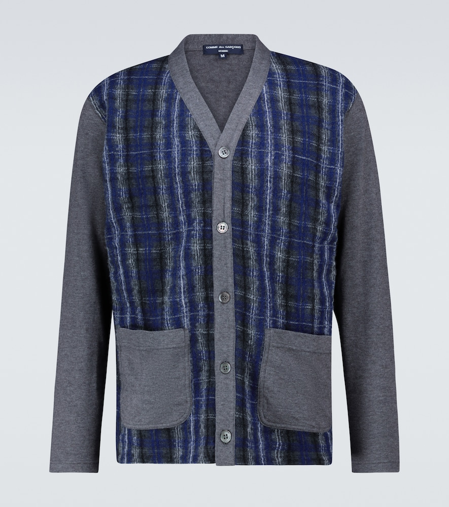 Cotton-blend checked cardigan