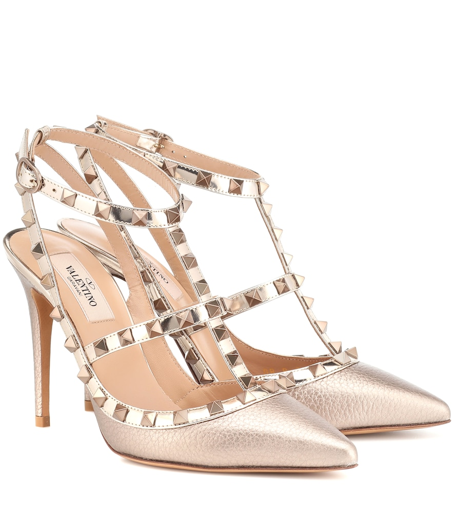 Rockstud Metallic Leather Pumps
