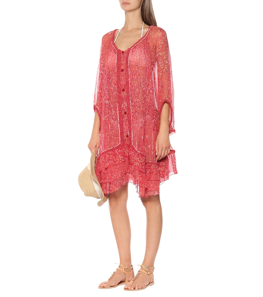 Poncho Bety printed silk cover-up by Poupette St Barth