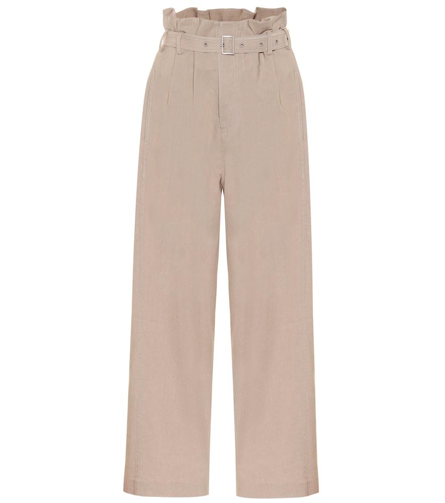 Pantalon paper bag en lin mélangé