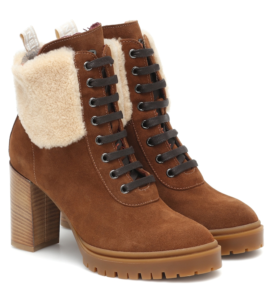 Sofia suede and shearling ankle boots