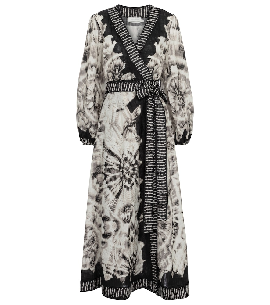 Zimmermann LULU TIE-DYE LINEN WRAP DRESS