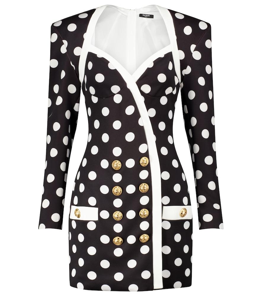 Polka-dot cr?e blazer minidress by Balmain