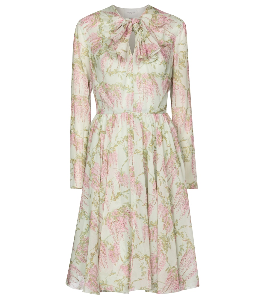 Floral silk chiffon minidress