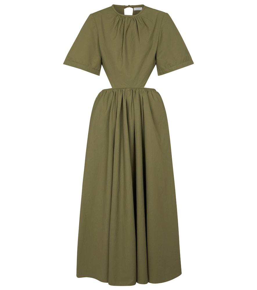 Cutout poplin midi dress