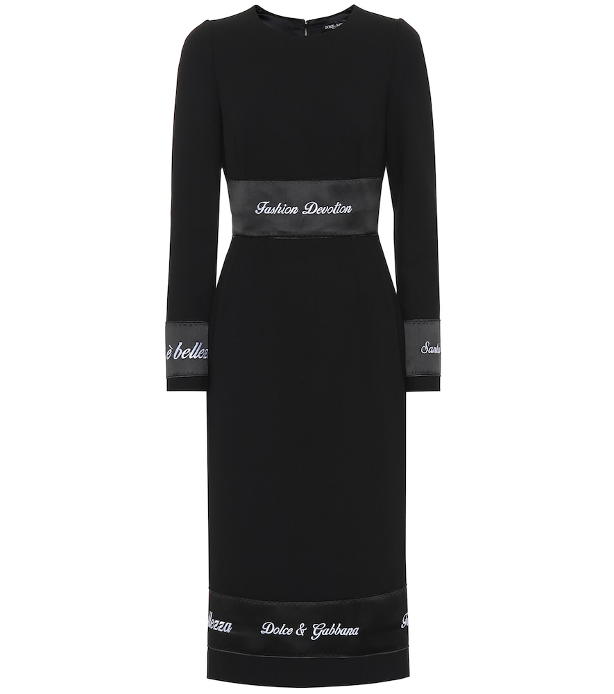 Jewel-Neck Long-Sleeve Wool Fitted Sheath Dress W/ Ribbon Trim in Black