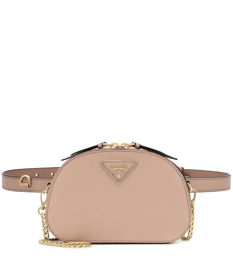 Prada Odette Leather Belt Bag In Beige