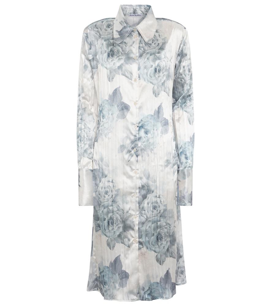 Floral satin shirt dress by Acne Studios