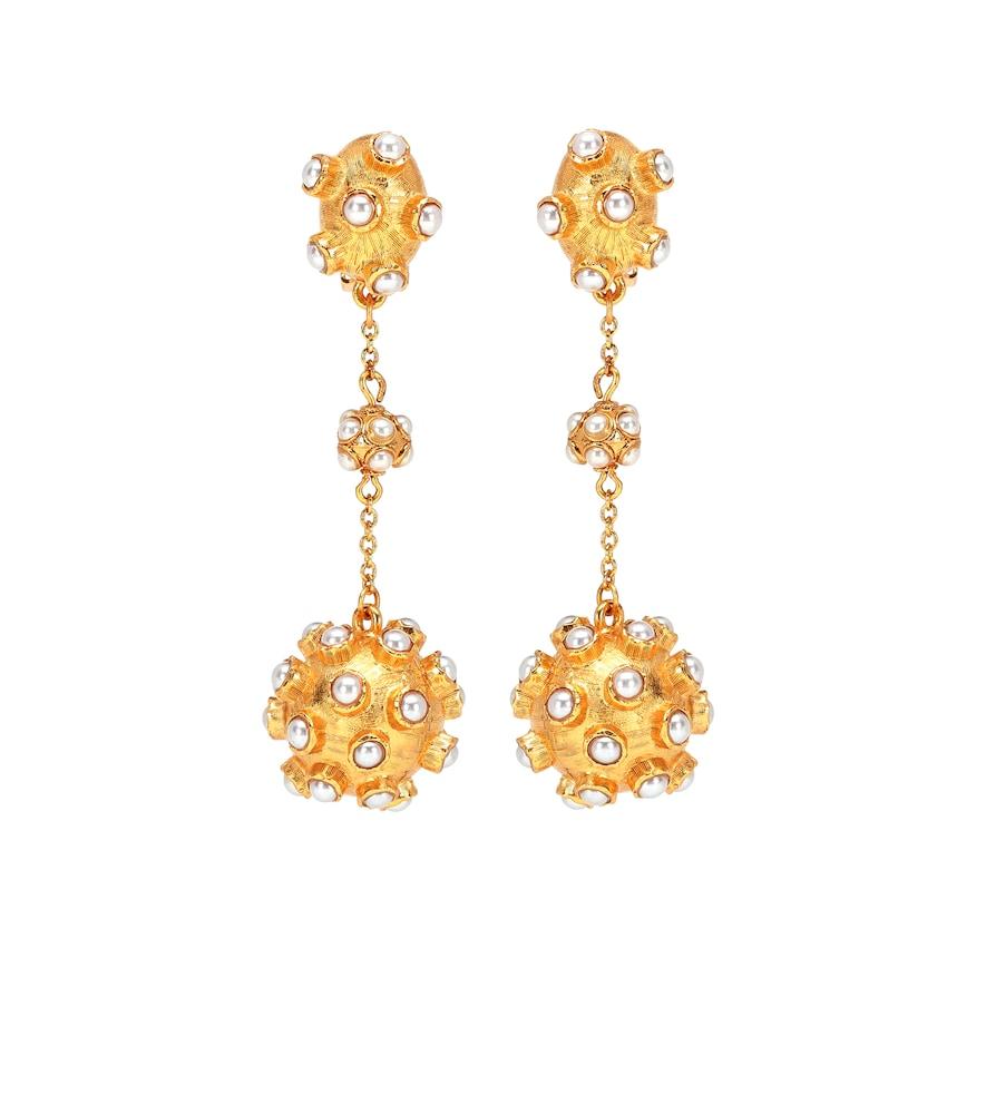 Boucles d'oreilles clip Cabochon à perles - Oscar de la Renta - Modalova