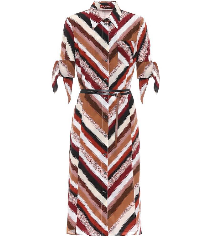 Narcissa striped silk midi dress