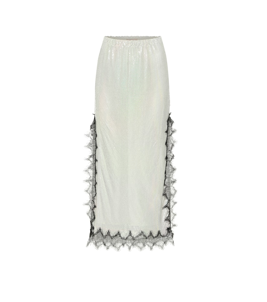 Lace-trimmed metallic midi skirt
