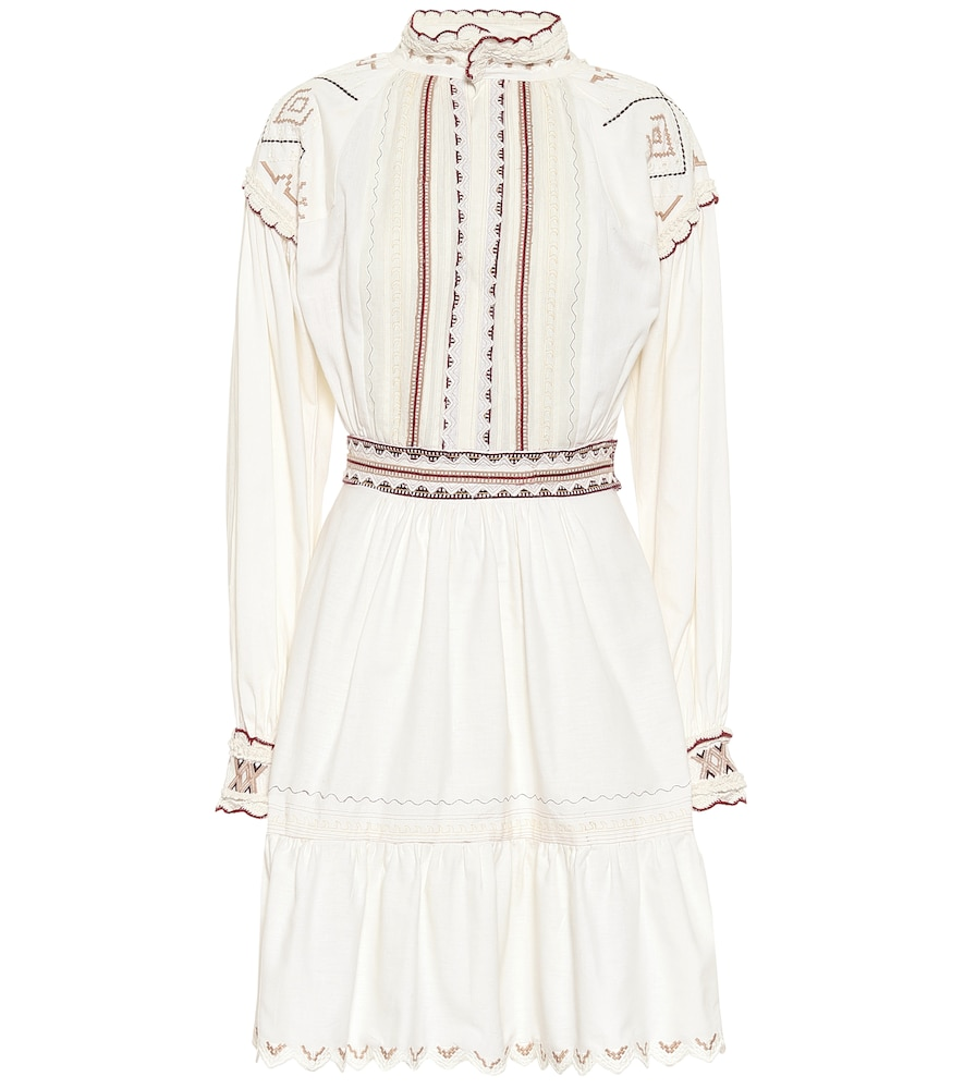 Etro Embroidered Cotton Garza Mini Dress In White